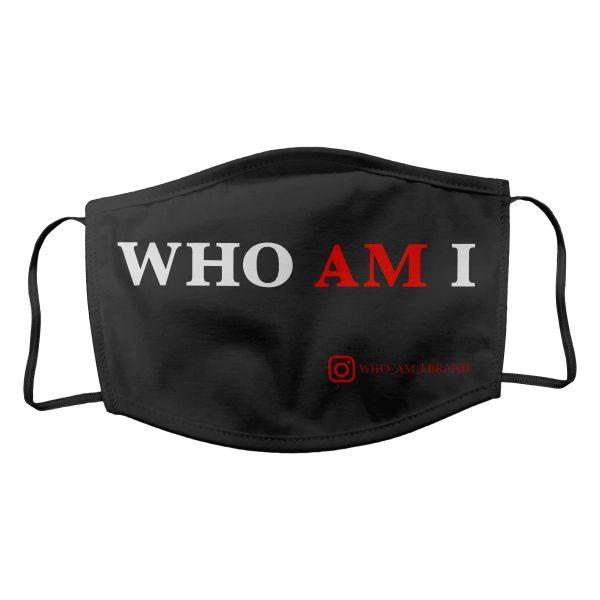 Baumwollmaske Who Am I schwarz